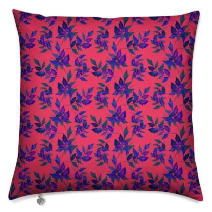 Cushion, Red, Blue, Botanical  Slipstream  Berries