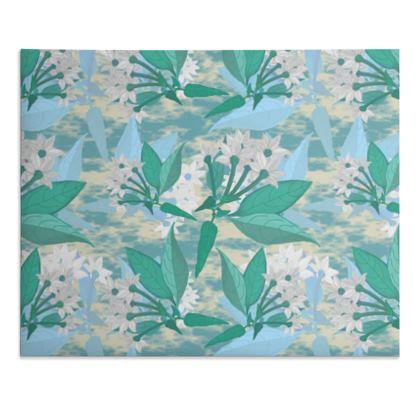 Desk Pad, Turquoise, Teal, Botanical   Jasmine   Turquoise Pool