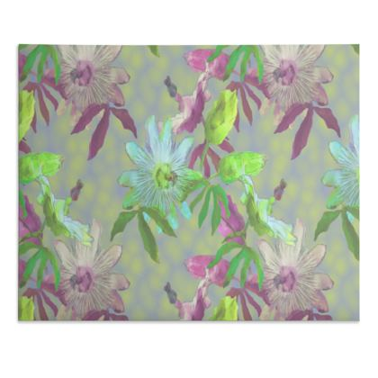 Desk Pad, Turquoise, Violet, Botanical   Passionflower   Moss