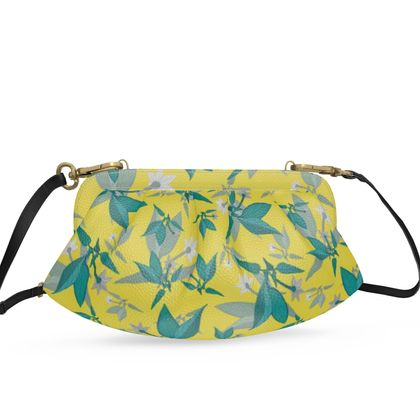 Pleated Soft Frame Bag, Yellow, Teal, Floral  Jasmine  Canary