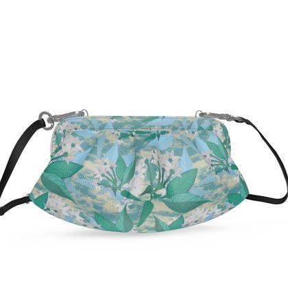 Pleated Soft Frame Bag, Floral  Jasmine   Turquoise Pool