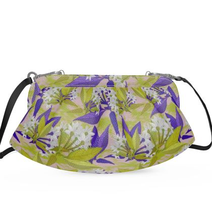 Pleated Soft Frame Bag, Yellow, Blue,  Floral  Jasmine  Golden Wheat