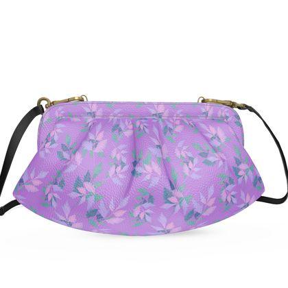 Pleated Soft Frame Bag, Mauve, Pink,  Botanical  Slipstream   Mauve Haze