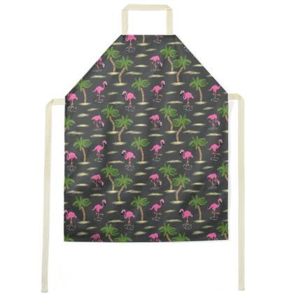 Tropical Flamingos [Charcoal] Apron