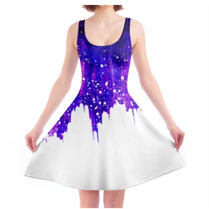 Purple paint skater dress