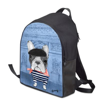 French Bulldog With Arc de Triomphe Backpack