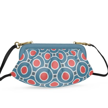 Japanese summer - Pleated Soft Frame Bag - Geometric shapes, abstract, blue and red, circles, elegant vintage, trendy, sophisticated stylish gift, modern, sports, spectacular retro - design by Tiana Lofd