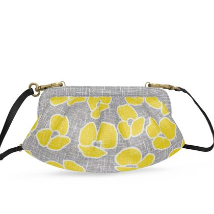 Sun poppies - Pleated Soft Frame Bag - Large yellow flowers, gray flax, trendy, bright gift, summer, blooming, floral, gray flax - design by Tiana Lofd