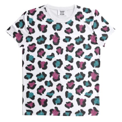 Electropop Leopard Print All Over Graphic Tee
