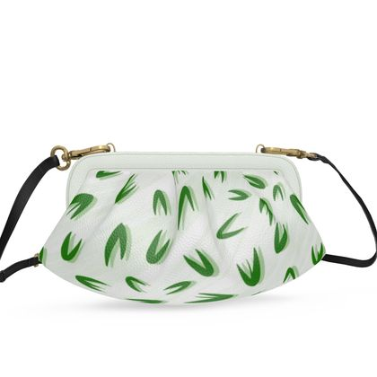Abstract Spring freshness - Pleated Soft Frame Bag - Simplicity and refined, green and white, leaves, light, floral, natural, grassy, fine, elegant gift - design by Tiana Lofd