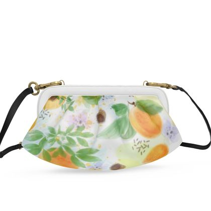 Little sun - Pleated Soft Frame Bag - fruit design, apricots, sunny, orchard, yellow, bright, natural food, garden, hand-drawn floral, summer gift - design by Tiana Lofd
