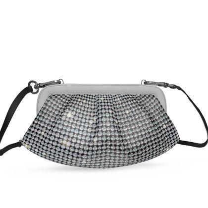 Diamond glamor - Pleated Soft Frame Bag - Brilliant crystals, chic, black and white, sparkling, precious, humor, looks expensive, rhinestones, glitter, jewelery, glamorous fun gift - design by Tiana Lofd