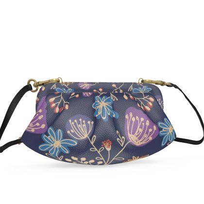 Night flowers - Pleated Soft Frame Bag - floral design, dark blue, blooming summer plants, navy, natural, colorful gift, hand drawing, artistic - design by Tiana Lofd