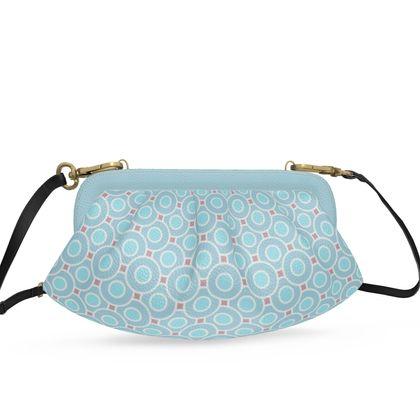 Blue tenderness - Pleated Soft Frame Bag - elegant gift, soft, refined, female, geometric, romantic, airy, fresh, sweet, aerial, guipure - design by Tiana Lofd