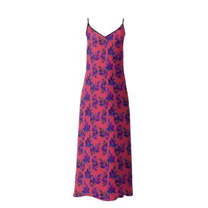 Slip Dress Red, Blue, Botanical  Slipstream   Berries