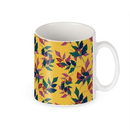 Builders Mugs, Yellow, Teal, Botanical  Slipstream  Goldfinch