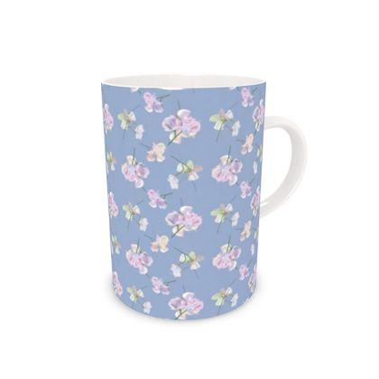 Bone China Mug Blue, Mauve, Floral  My Sweet Pea  Blue Bliss