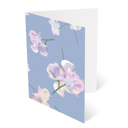Occasions Card [Happy Birthday], Blue, Mauve, Floral  My Sweet Pea  Blue Bliss