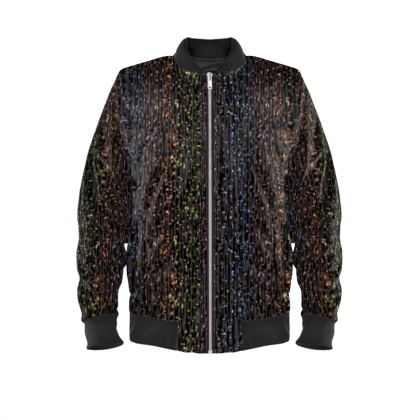 Cabaret Night - Mens Bomber Jacket - glitter black, sparkling sparks, scintillant, rainbow gift, iridescent, lurex, glamorous sheen, brilliant chic, Bohemian, spectacular, magical - design by Tiana Lofd
