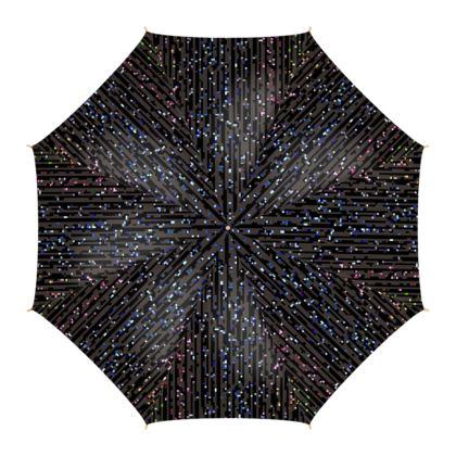 Cabaret Night - Umbrella - glitter black, sparkling sparks, scintillant, rainbow gift, iridescent, lurex, glamorous sheen, brilliant chic, Bohemian, spectacular, magical - design by Tiana Lofd