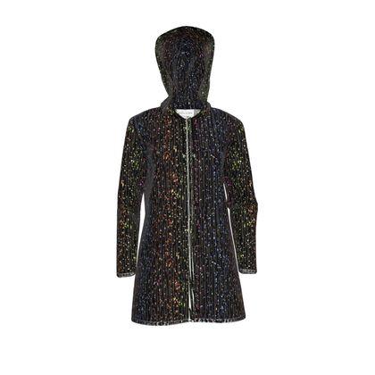 Cabaret Night - Womens Hooded Rain Mac - glitter black, sparkling sparks, scintillant, rainbow gift, iridescent, lurex, glamorous sheen, brilliant chic, Bohemian, spectacular, magical - design by Tiana Lofd
