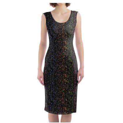 Cabaret Night - Bodycon Dress - glitter black, sparkling sparks, scintillant, rainbow gift, iridescent, lurex, glamorous sheen, brilliant chic, Bohemian, spectacular, magical - design by Tiana Lofd