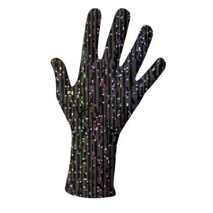 Cabaret Night - Lycra Gloves - glitter black, sparkling sparks, scintillant, rainbow gift, iridescent, lurex, glamorous sheen, brilliant chic, Bohemian, spectacular, magical - design by Tiana Lofd