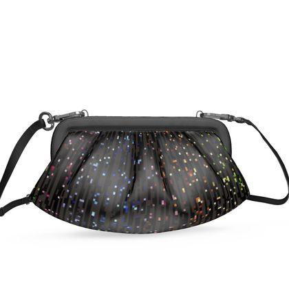 Cabaret Night - Pleated Soft Frame Bag - glitter black, sparkling sparks, scintillant, rainbow gift, iridescent, lurex, glamorous sheen, brilliant chic, Bohemian, spectacular, magical - design by Tiana Lofd