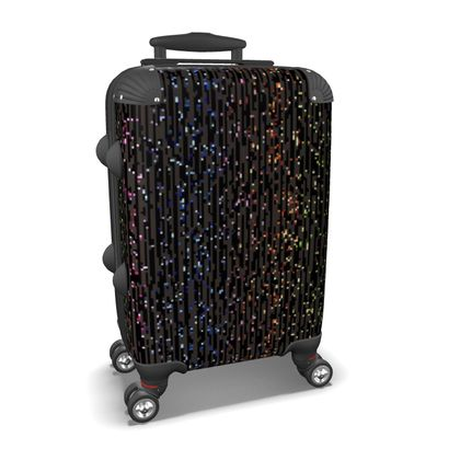 Cabaret Night - Suitcase - glitter black, sparkling sparks, scintillant, rainbow gift, iridescent, lurex, glamorous sheen, brilliant chic, Bohemian, spectacular, magical - design by Tiana Lofd
