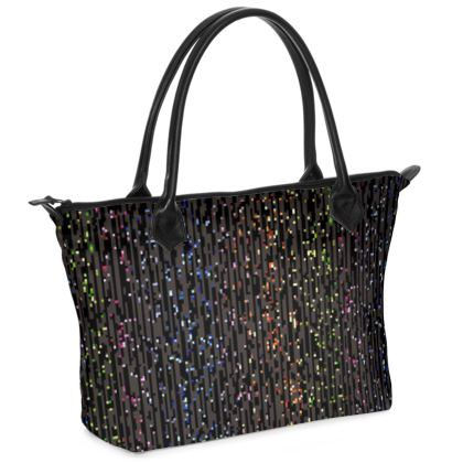 Cabaret Night - Zip Top Handbag - glitter black, sparkling sparks, scintillant, rainbow gift, iridescent, lurex, glamorous sheen, brilliant chic, Bohemian, spectacular, magical - design by Tiana Lofd