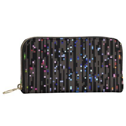 Cabaret Night - Leather Zip Purse - glitter black, sparkling sparks, scintillant, rainbow gift, iridescent, lurex, glamorous sheen, brilliant chic, Bohemian, spectacular, magical - design by Tiana Lofd