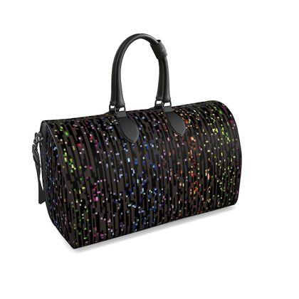 Cabaret Night - Duffle bag - iridescent rainbow lurex, glitter black, sparkling sparks, scintillant, glamorous sheen, brilliant chic, Bohemian gift, spectacular, magical - design by Tiana Lofd