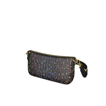 Cabaret Night - Baguette Bag - iridescent rainbow lurex, glitter black, sparkling sparks, scintillant, glamorous sheen, brilliant chic, Bohemian gift, spectacular, magical - design by Tiana Lofd