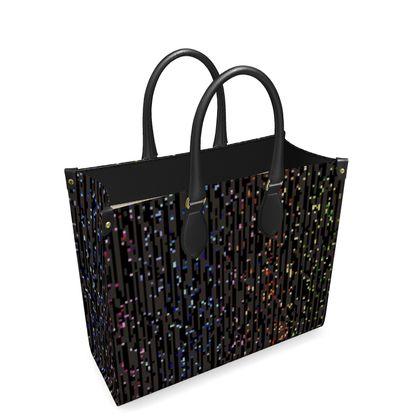 Cabaret Night - Leather Shopper Bag - iridescent rainbow lurex, glitter black, sparkling sparks, scintillant, glamorous sheen, brilliant chic, Bohemian gift, spectacular, magical - design by Tiana Lofd