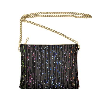 Cabaret Night - Crossbody Bag With Chain - iridescent rainbow lurex, glitter black, sparkling sparks, scintillant, glamorous sheen, brilliant chic, Bohemian gift, spectacular, magical - design by Tiana Lofd