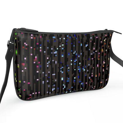 Cabaret Night - Pochette Double Zip Bag - iridescent rainbow lurex, glitter black, sparkling sparks, scintillant, glamorous sheen, brilliant chic, Bohemian gift, spectacular, magical - design by Tiana Lofd