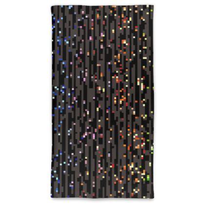 Cabaret Night -Neck Tube Scarf - iridescent rainbow lurex, glitter black, sparkling sparks, scintillant, glamorous sheen, brilliant chic, Bohemian gift, spectacular, magical - design by Tiana Lofd