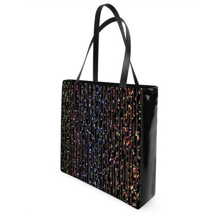 Cabaret Night - Shopper Bags - iridescent rainbow lurex, glitter black, sparkling sparks, scintillant, glamorous sheen, brilliant chic, Bohemian gift, spectacular, magical - design by Tiana Lofd