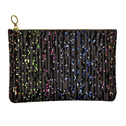 Cabaret Night - Leather Clutch Bag - iridescent rainbow lurex, glitter black, sparkling sparks, scintillant, glamorous sheen, brilliant chic, Bohemian gift, spectacular, magical - design by Tiana Lofd