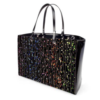 Cabaret Night - Handbags - iridescent rainbow lurex, glitter black, sparkling sparks, scintillant, glamorous sheen, brilliant chic, Bohemian gift, spectacular, magical - design by Tiana Lofd