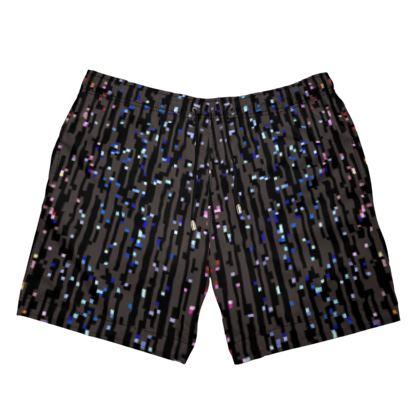 Cabaret Night - Mens Swimming Shorts - iridescent rainbow lurex, glitter black, sparkling sparks, scintillant, glamorous sheen, brilliant chic, Bohemian gift, spectacular, magical - design by Tiana Lofd