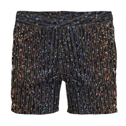 Cabaret Night - Board Shorts - iridescent rainbow lurex, glitter black, sparkling sparks, scintillant, glamorous sheen, brilliant chic, Bohemian gift, spectacular, magical - design by Tiana Lofd