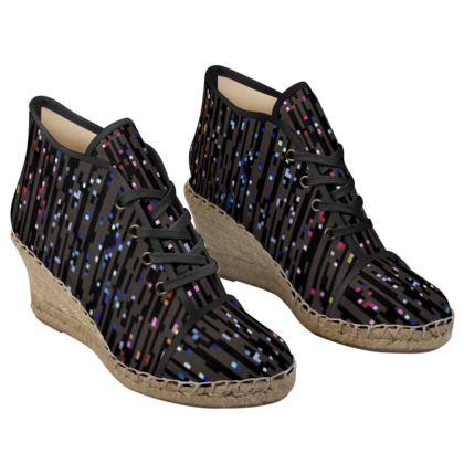 Cabaret Night - Ladies Wedge Espadrilles - iridescent rainbow lurex, glitter black, sparkling sparks, scintillant, glamorous sheen, brilliant chic, Bohemian gift, spectacular, magical - design by Tiana Lofd