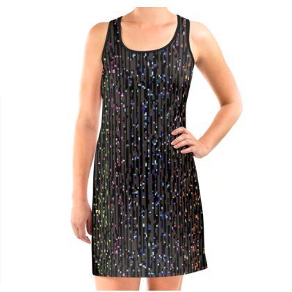 Cabaret Night - Vest Dress - iridescent rainbow lurex, glitter black, sparkling sparks, scintillant, glamorous sheen, brilliant chic, Bohemian gift, spectacular, magical - design by Tiana Lofd
