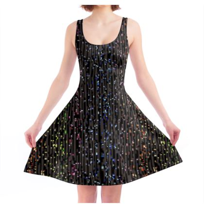 Cabaret Night - Skater Dress - iridescent rainbow lurex, glitter black, sparkling sparks, scintillant, glamorous sheen, brilliant chic, Bohemian gift, spectacular, magical - design by Tiana Lofd