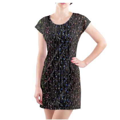Cabaret Night - Ladies Tunic T Shirt - iridescent rainbow lurex, glitter black, sparkling sparks, scintillant, glamorous sheen, brilliant chic, Bohemian gift, spectacular, magical - design by Tiana Lofd