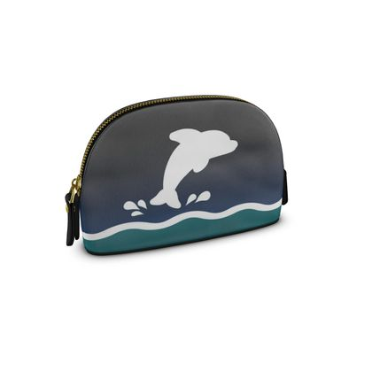 Small Premium Nappa Make Up Bag - Dolphin