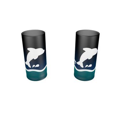 Large Round Shot Glass 2 Set - Dolphin