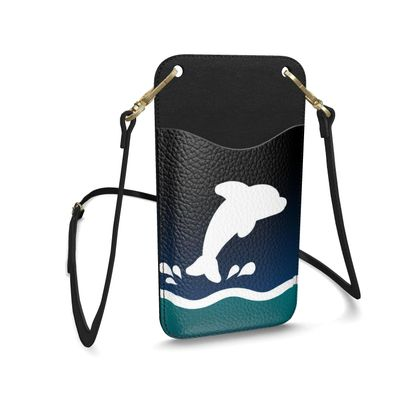 Leather Phone Case With Strap - Dolphin
