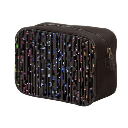Cabaret Night - Mens Washbag - iridescent rainbow lurex, glitter black, sparkling sparks, scintillant, glamorous sheen, brilliant chic, Bohemian gift, spectacular, magical - design by Tiana Lofd